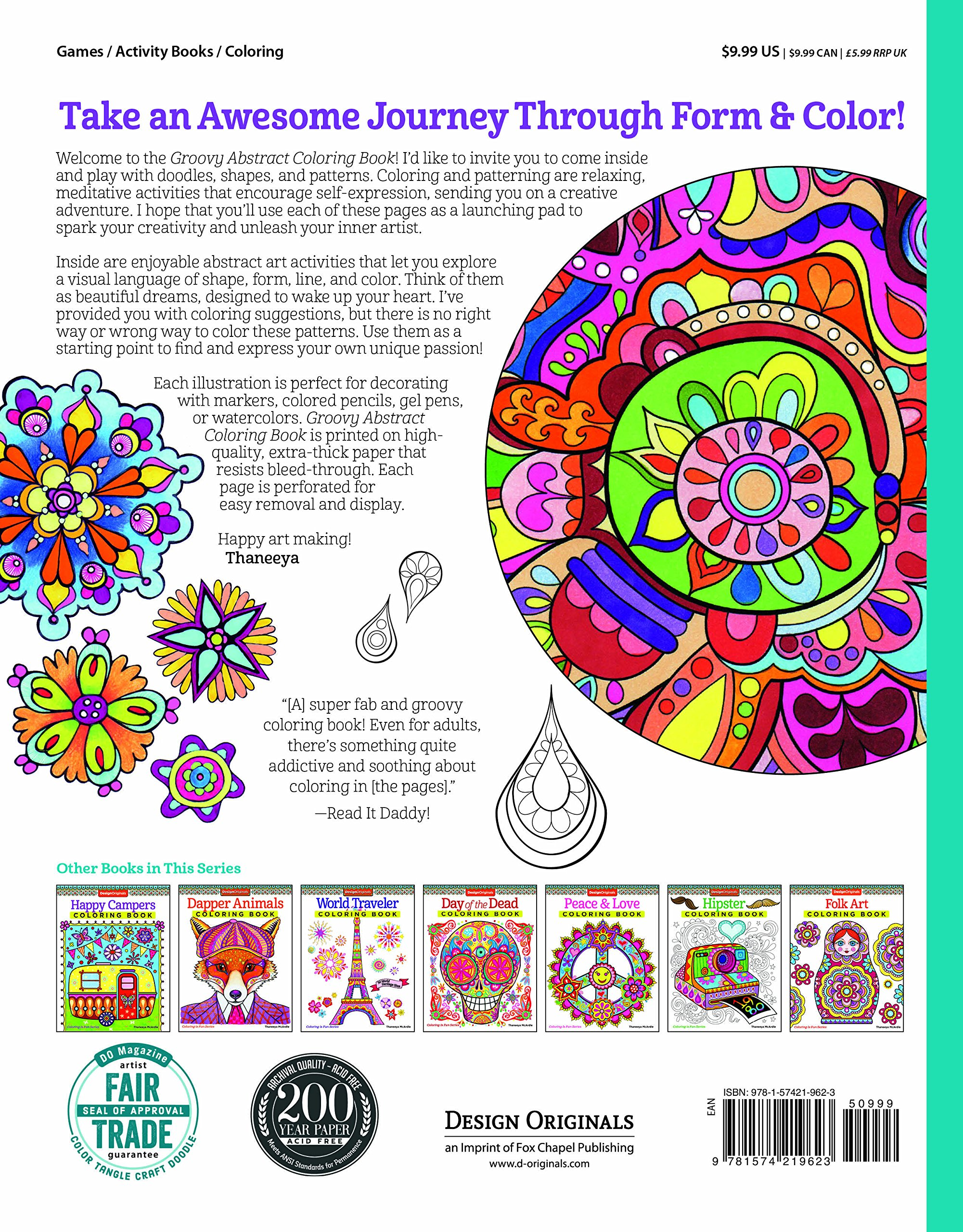 Amazon Groovy Abstract Coloring Book Design Originals Is Fun 9781574219623 Thaneeya McArdle Books