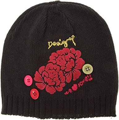 Desigual Women s GORRO FLOWERS Hat - Black - Noir - One size  Amazon ... 57c2b1810bc