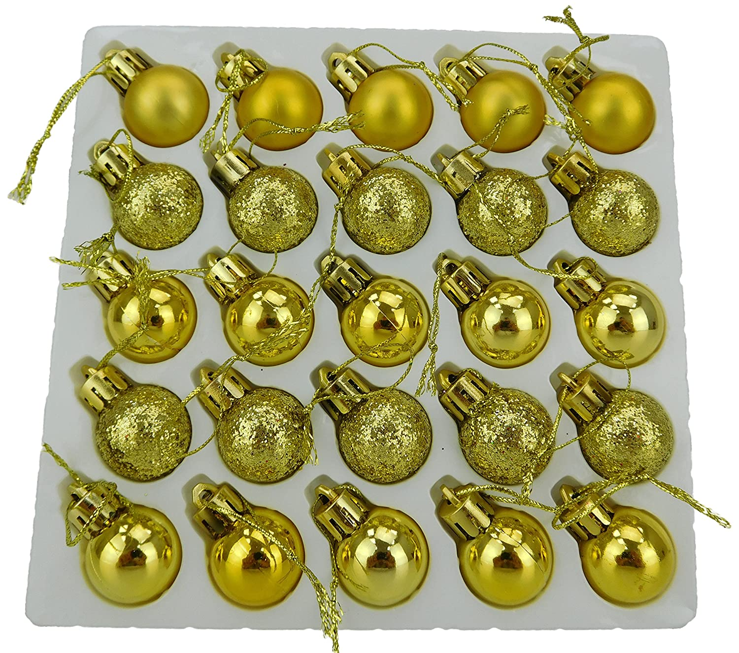 Christmas Concepts® Pack of 25-25mm Mini Christmas Tree Baubles - Shiny, Matte & Glitter Decorated Baubles (Champagne)