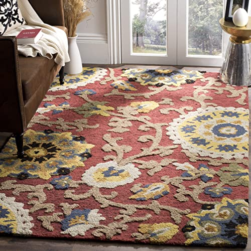 Safavieh Blossom Collection BLM401C Handmade Floral Vines Red and Multi Premium Wool Area Rug 5 x 8