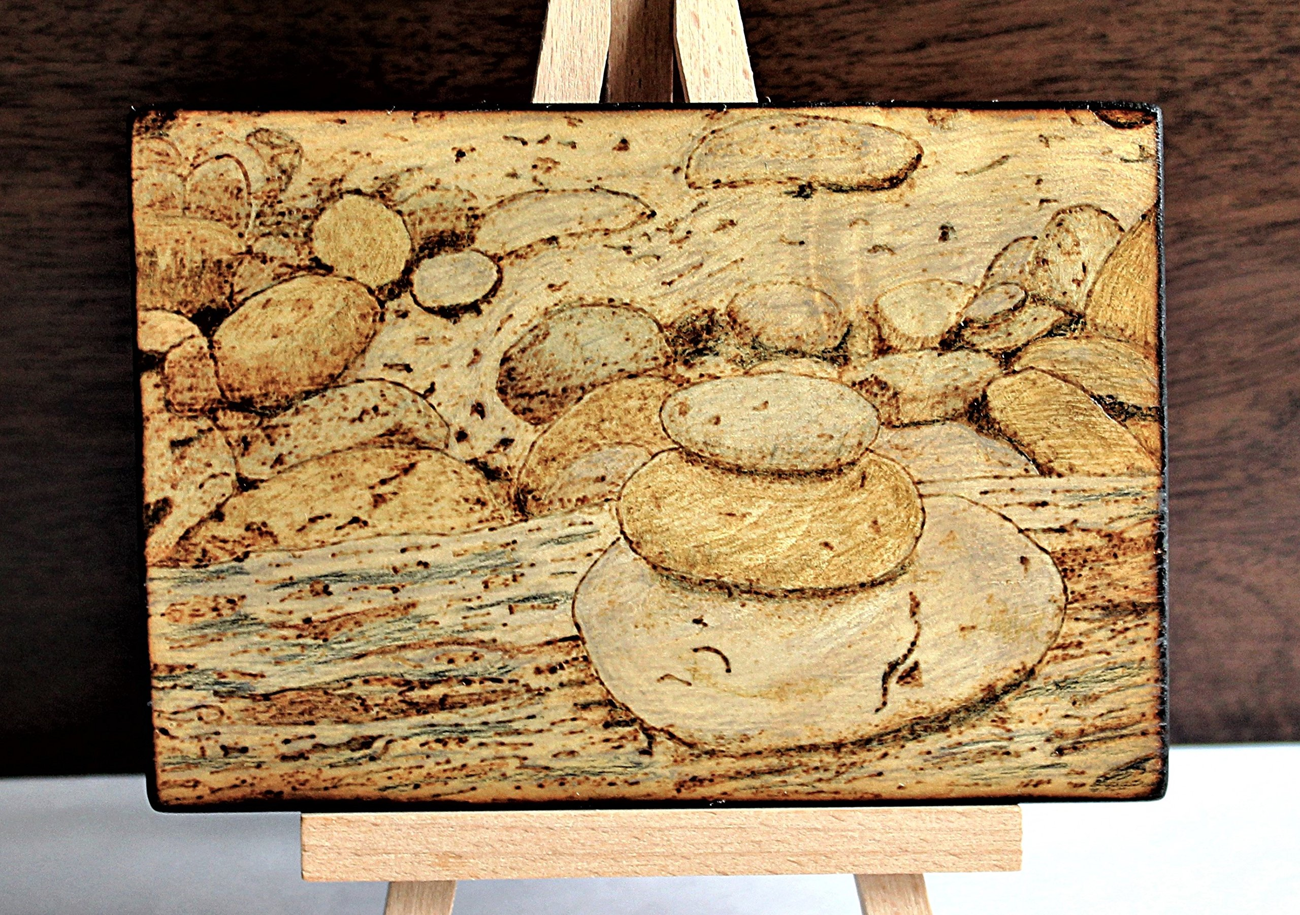 Wood Burned Cairn Stones Pyrography Small Woodburned Nature Rocky Shoreline Picture Desktop Art