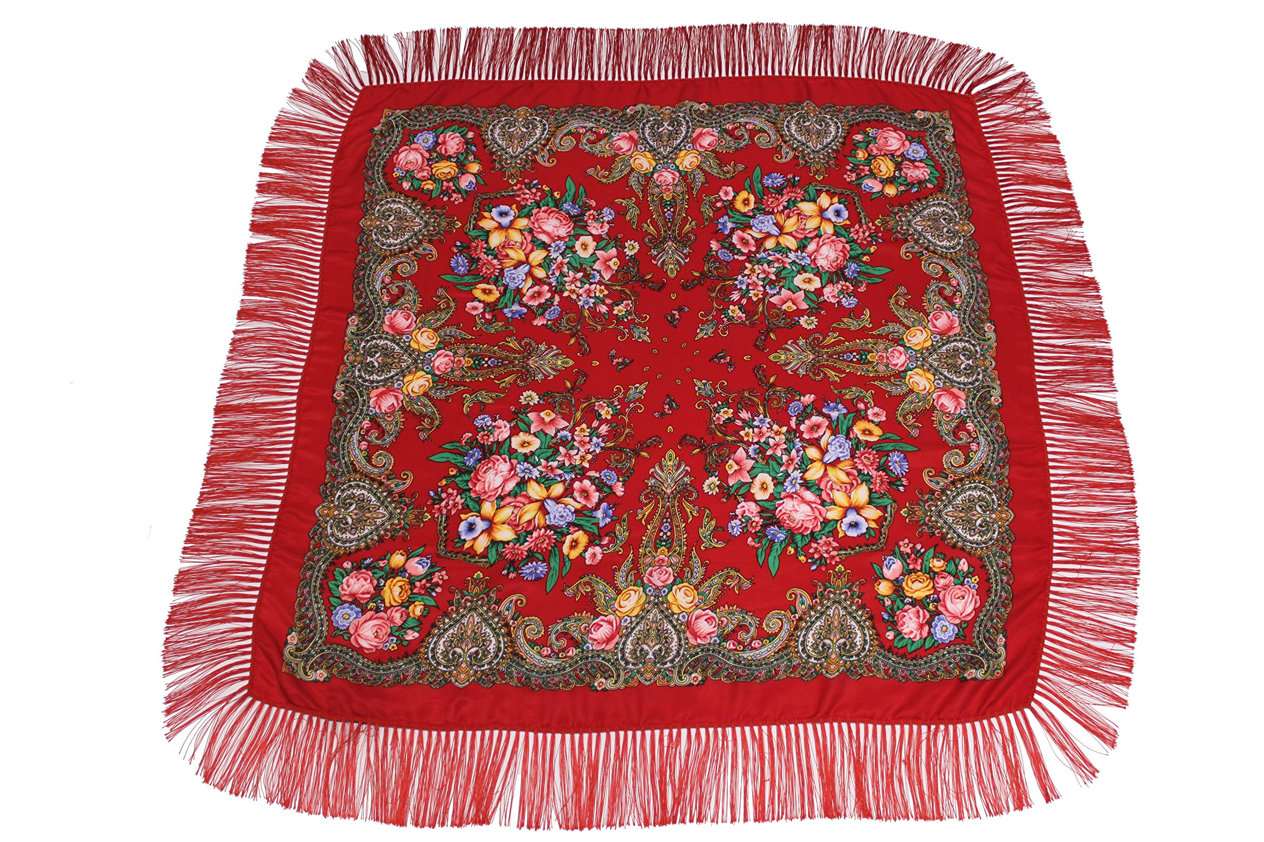 Dzhavael Couture Womans Russian Style Wool Luxury Unique Large Babushka Pashmina Shawl Wraps Scarves with Fringe (Red)