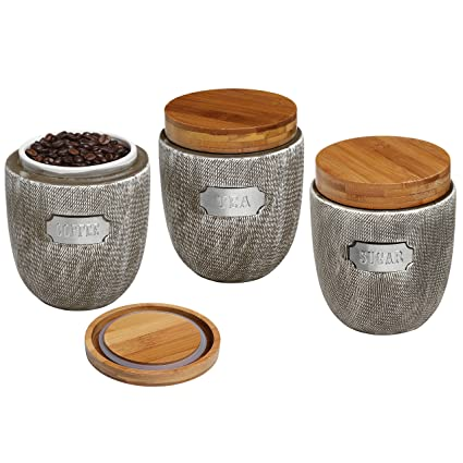 Set of 3 Ceramic Grey Airtight Canister Jars with Bamboo Lids / Coffee Tea Sugar Storage  sc 1 st  Amazon.com & Amazon.com: Set of 3 Ceramic Grey Airtight Canister Jars with Bamboo ...