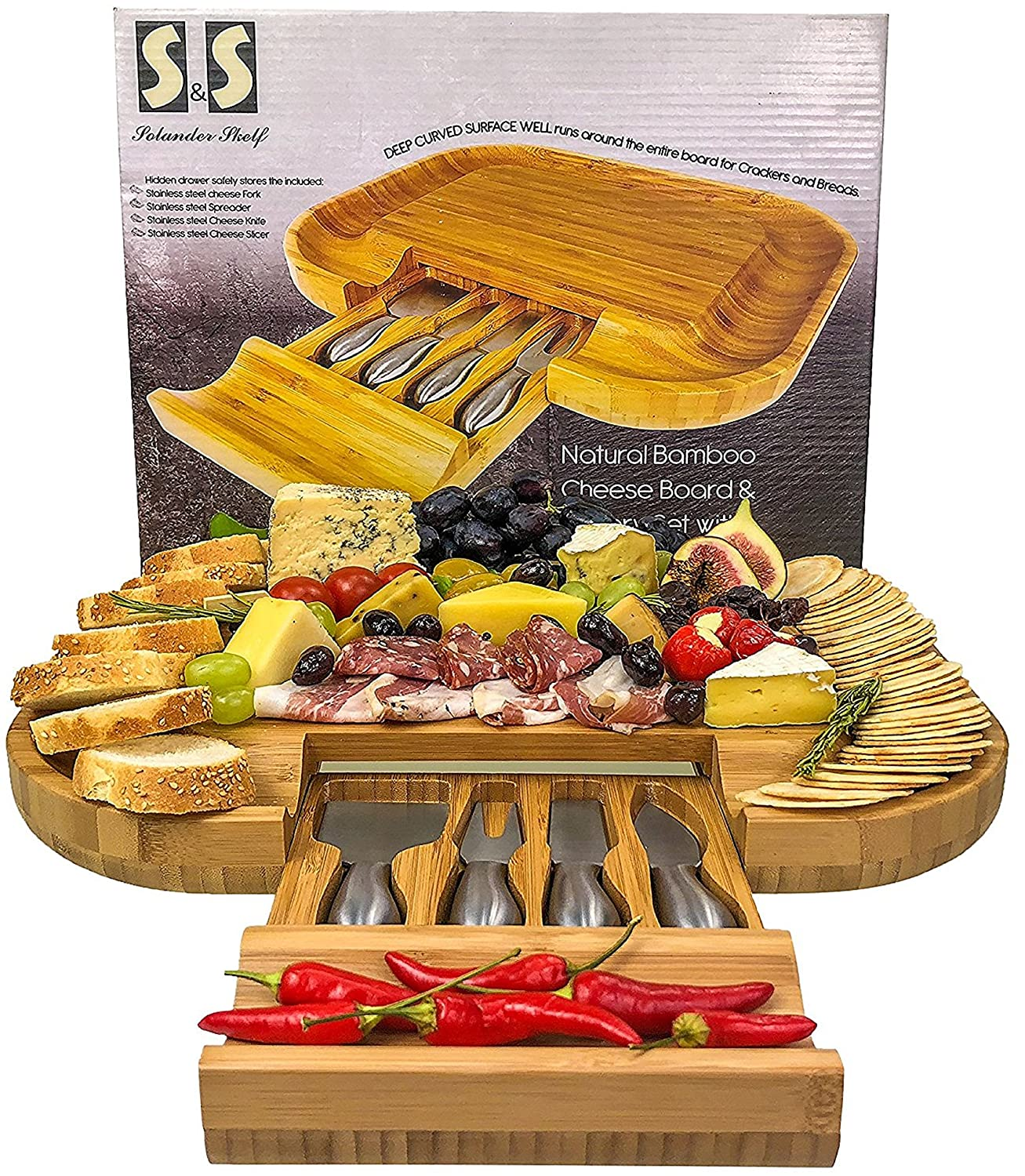 Solander Skelf Bamboo Cheese Board with Drawer & 4 Stainless Steel Cheese Knives Luxury Set Extra Spaces Serving Board Slide-Out & Utensils Gift Set Extensive Serving Set Large 100% Bamboo B073RZYKHX