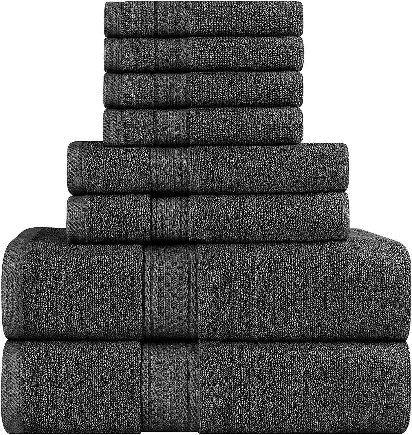 Utopia Towels Premium 8 Piece Towel Set (Grey); 2 Bath Towels, 2 Hand Towels and 4 Washcloths - Cotton - Machine Washable, Hotel Quality, Super Soft and Highly Absorbent (8 Pack)