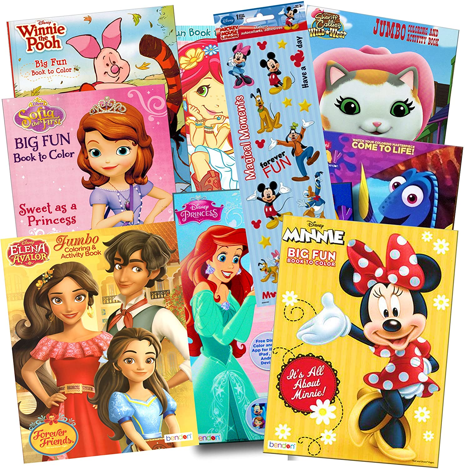 Amazon Com Disney Coloring Books For Kids Toddlers Bulk Set Bundle 8 Disney Books With Stickers And Door Hanger Minnie Mouse And Friends Toys Games