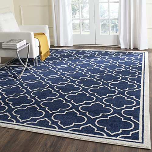 Safavieh Amherst Collection AMT412P Moroccan Geometric Area Rug, 9 x 12 , Navy Ivory