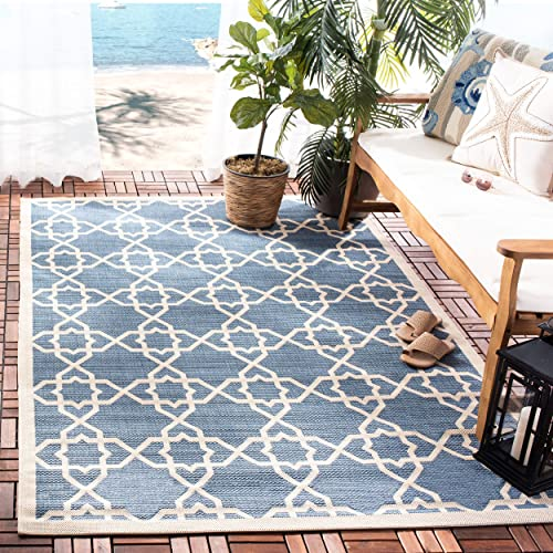 Safavieh Courtyard Collection Indoor Outdoor Area Rug, 9 x 12 , Blue Beige