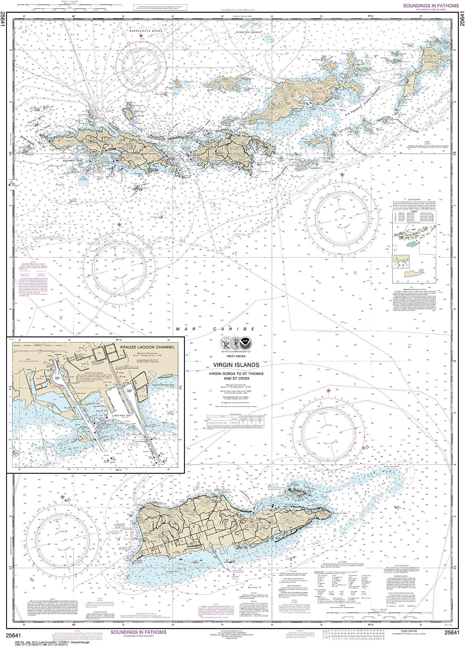 MapHouse NOAA Chart 25641 Virgin Islands-Virgin Gorda to St. Thomas St. Croix;Krause Lagoon Channel: 45.52'' X 32.58'' Paper Chart