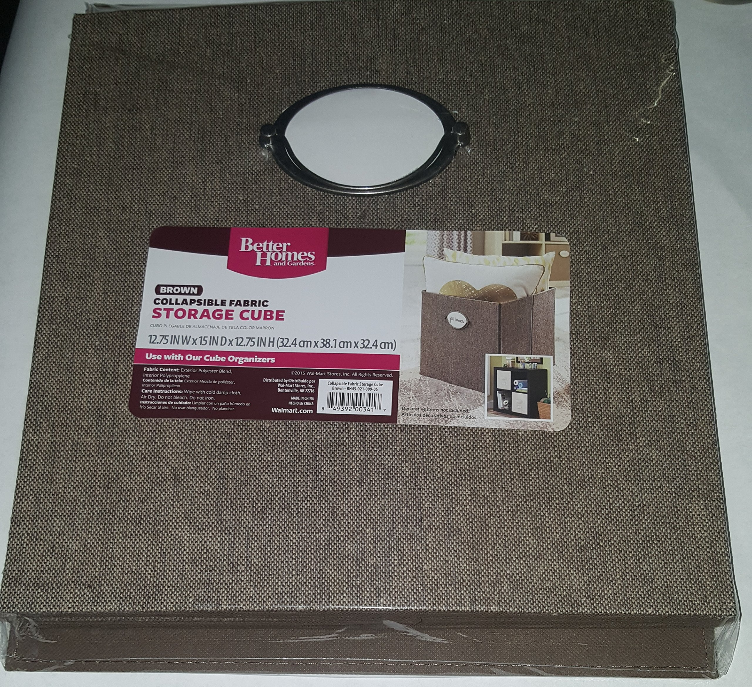 Better Homes and Gardens Collapsible Fabric Storage Cube (BROWN)