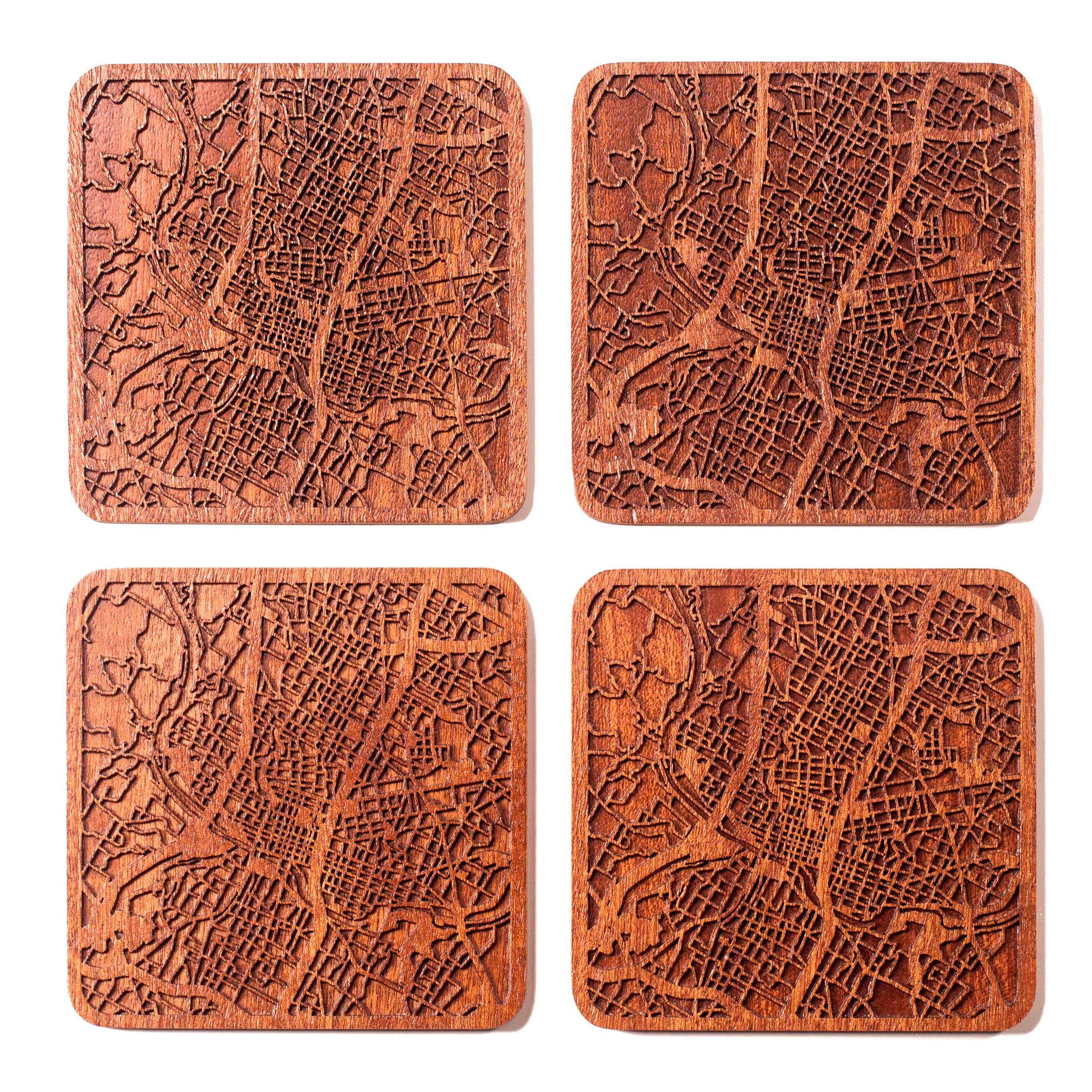 Austin Map Coaster by O3 Design Studio, Set Of