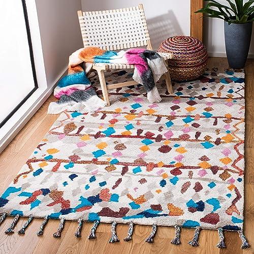 Safavieh Casablanca Shag Collection CSB216A Handmade Wool Area Rug, 8 x 10 , Ivory Multi