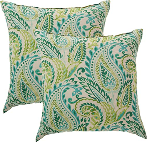 Quality Outdoor Living 29-AT02PW Throw Pillow PK2, 18 x 18, Tan Paisley