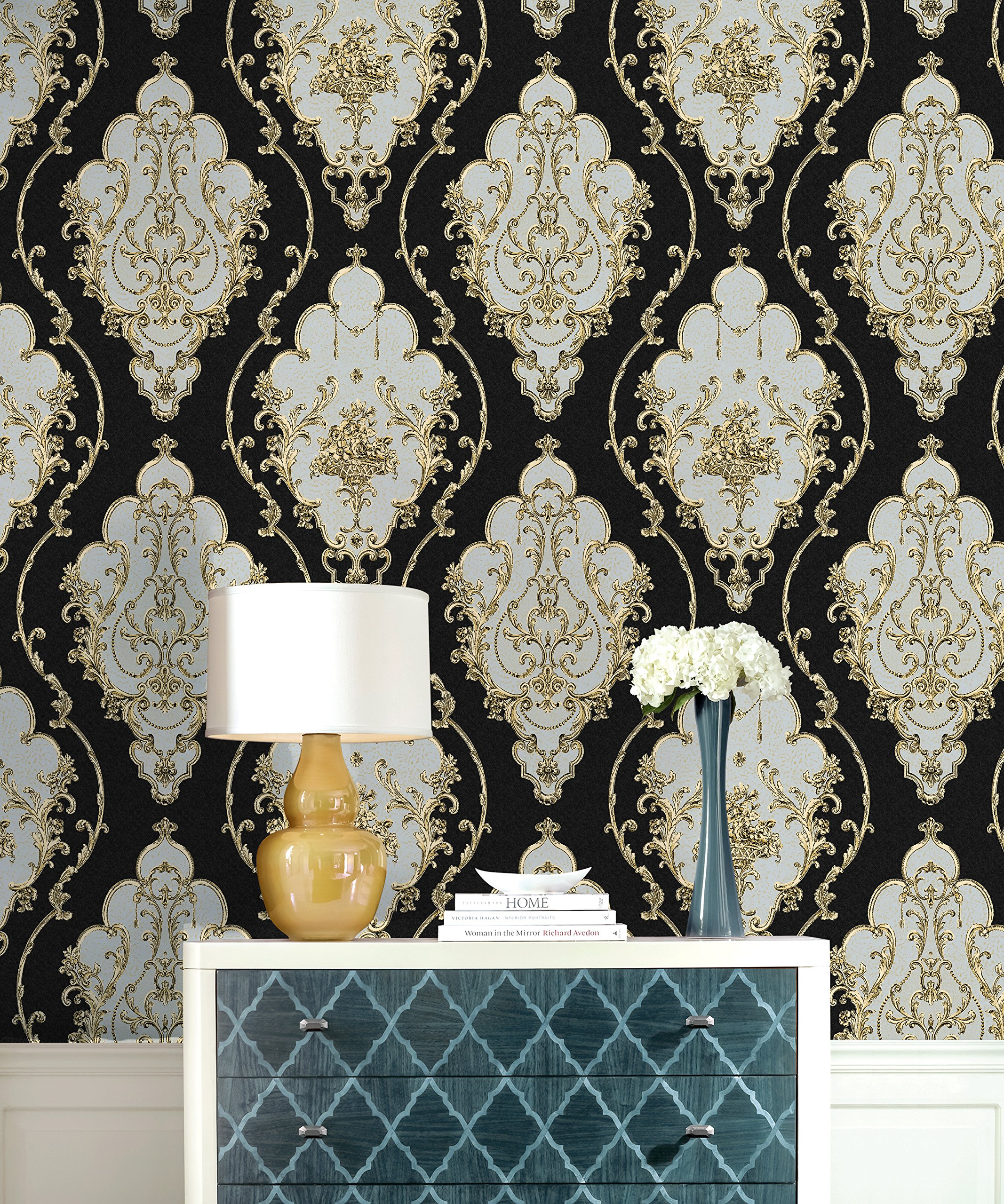 HaokHome 360207 Luxury Heavy Texture Victorian Damask Wallpaper Black/Gold/Brown/Silver for Home Accent Wall 20.8''x 31ft by HAOKHOME (Image #2)