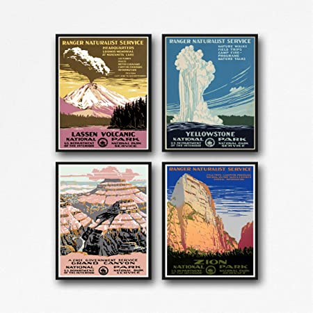 Wallbuddy Set Of 4 National Park Posters From Late 1930s Yellowstone Lassen Volcanic Grand Canyon And Zion National Parks Wpa Posters 11 X 14 Amazon Co Uk Kitchen Home