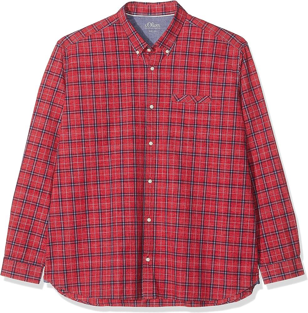 S.Oliver Big Size 15.909.21.3732 Camisa Casual, Rojo (Uniform Red 36N5), XXXXL para Hombre: Amazon.es: Ropa y accesorios