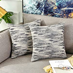Home Brilliant Thanks Giving Decorative Pillows Cover 18x18 Abstract Textured Accent Pillowcases Gray Cushion Covers for Sofa, 45 x 45 cm, 2 Pack, Grey