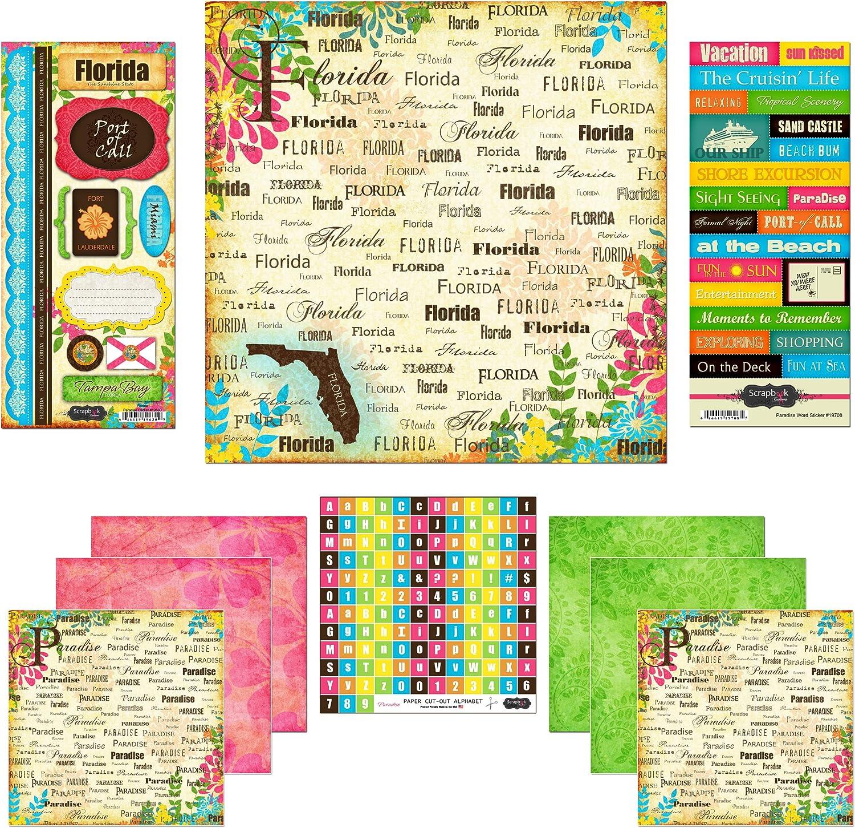 Scrapbook Customs Themed Paper and Stickers Scrapbook Kit, Florida Paradise