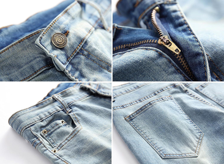 OKilr Pjik Mens Vintage Skinny Fit Destroyed Cotton Denim Jeans with Knee Open Rips