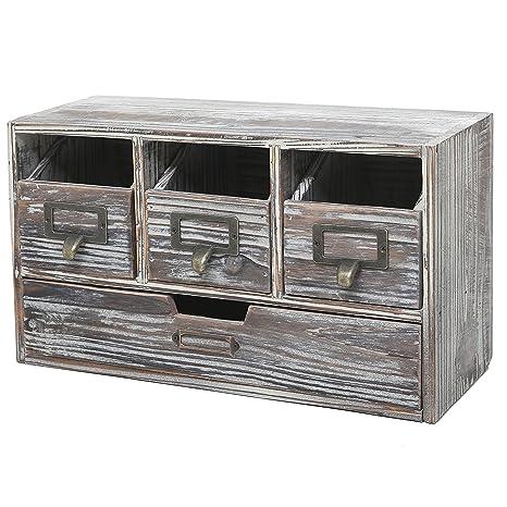 Rustic Brown Torched Wood Finish Desktop Office Organizer Drawers / Craft  Supplies Storage Cabinet