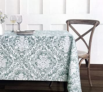 Fabric Tablecloth 60 X 120 Inches Victorian Floral Scroll Medallion Pattern  In Gray / Green On