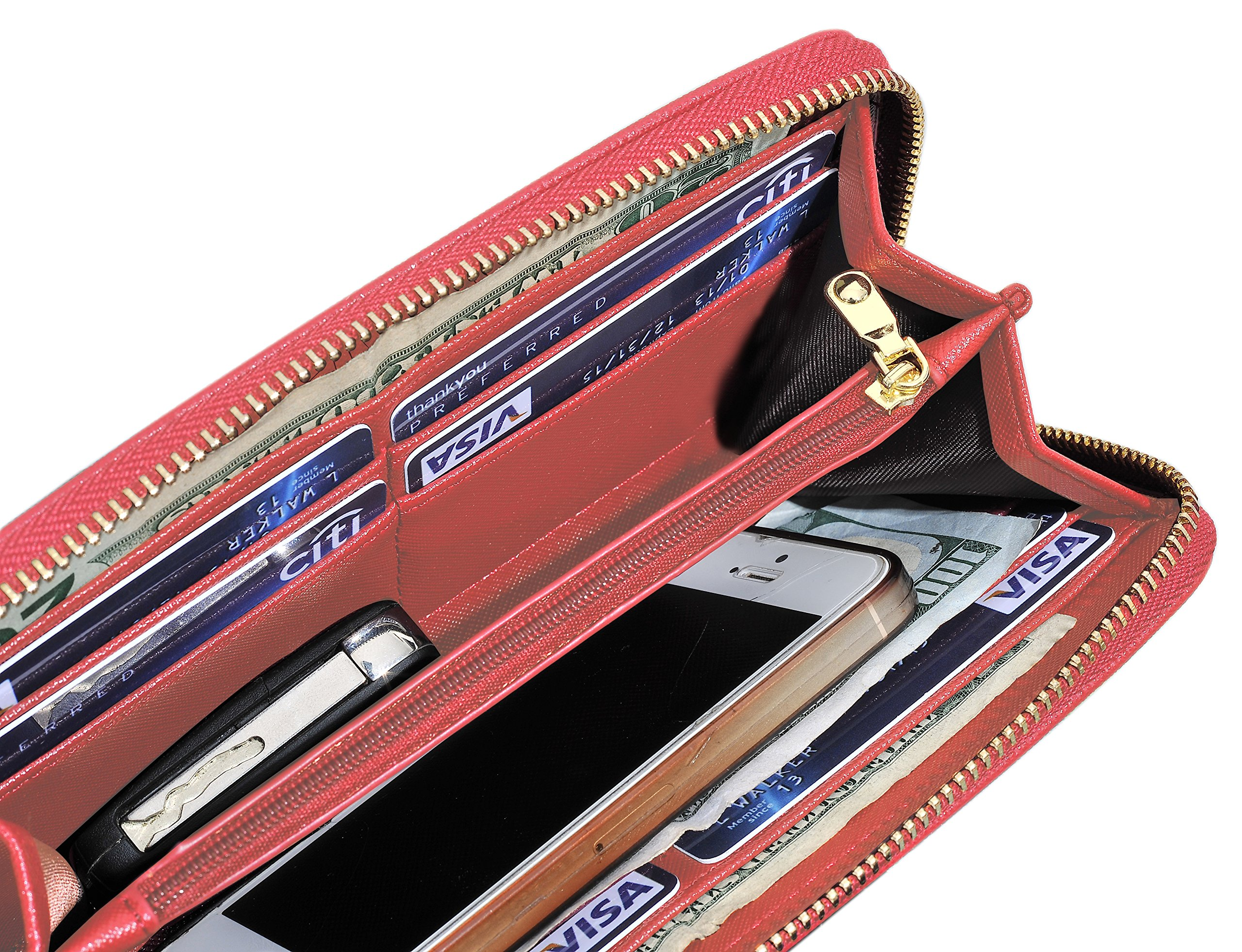 Womens Leather Wallet Clutch Long Zipper Wallets with Wrist Strap Card Holder (Red - New) by Yuhan Pretty (Image #4)