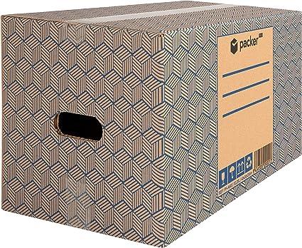 Pack 20 Cajas Carton para Mudanzas y Almacenaje 430x300x250mm Ultra Resistentes con Asas, 100% ECO Box - Packer PRO: Amazon.es: Oficina y papelería