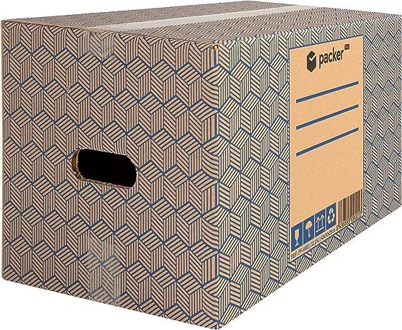 Packer PRO - Pack 10 Cajas Carton para Mudanzas y Almacenaje con Asas 430x300x250mm: Amazon.es: Oficina y papelería