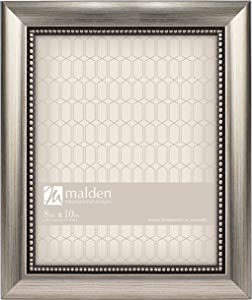 """Malden International Designs Classic Mouldings Champagne Beaded Picture Frame, 8"""" x 10"""", Silver"""