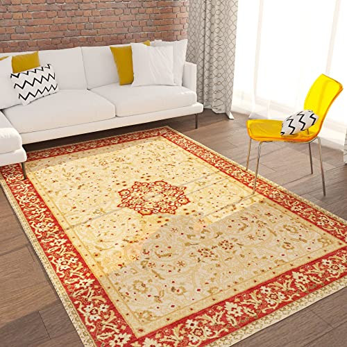 Home Way Turkish Antique Royalty Design Traditional Floral Ivory Carpet Eclectic for Modern and Classic Interiors Oriental 5×7 5 3 x 7 3 Area Rug