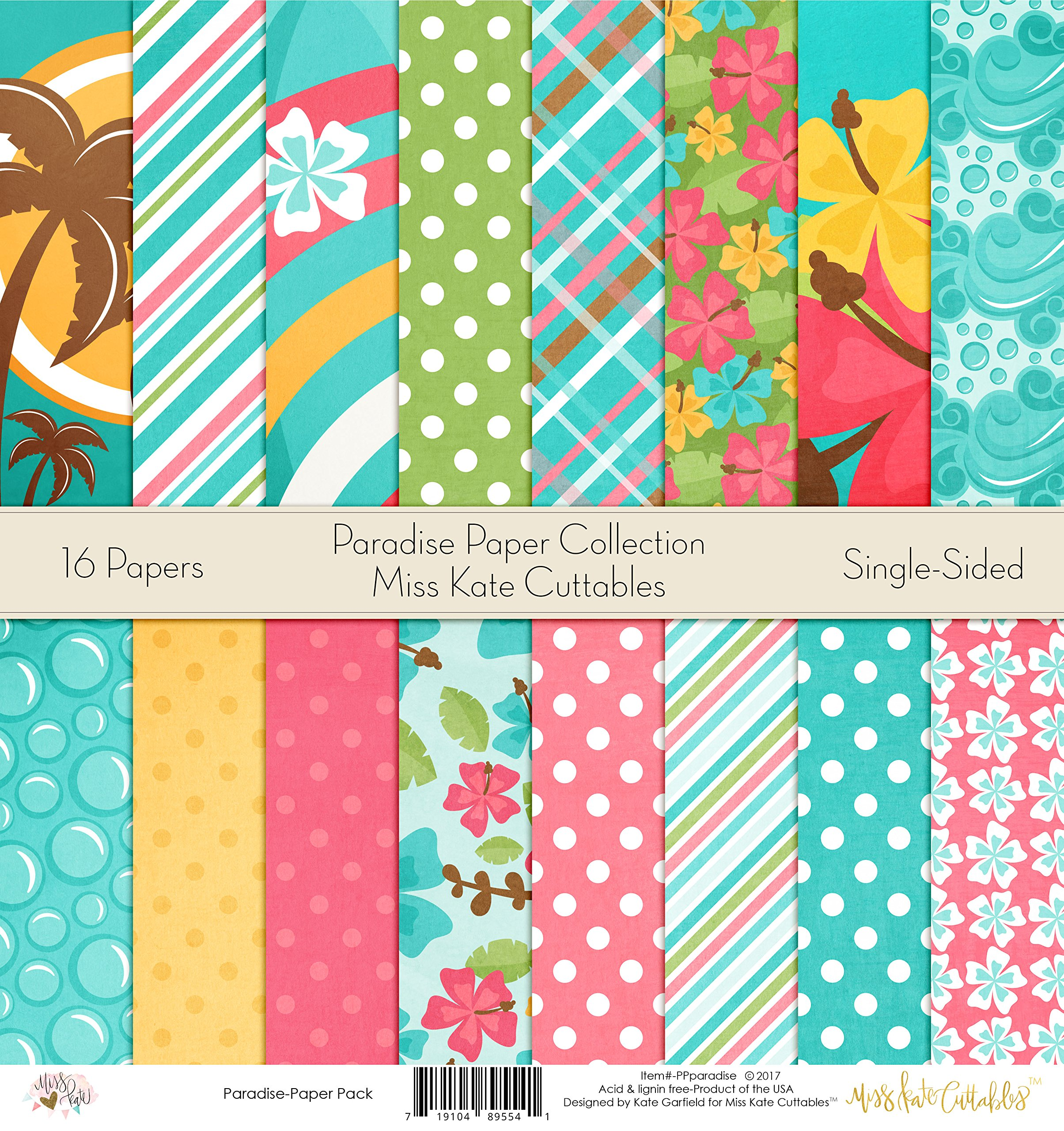 Pattern Paper Pack - Paradise - Scrapbook Premium Specialty Paper Single-Sided 12''x12'' Collection Includes 16 Sheets - by Miss Kate Cuttables