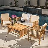 Beckley 4pc Outdoor Eucalyptus Sofa Set