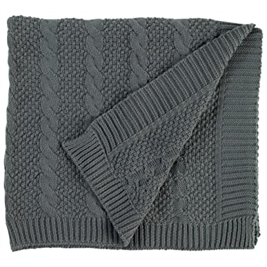 Stone & Beam Transitional Chunky Cable Knit Throw, 70  x 40 , Charcoal