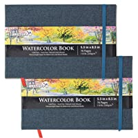 """U.S. Art Supply 5.5"""" x 8.5"""" Watercolor Book, 2 Pack, 76 Sheets, 110 lb (230 GSM) - Linen-Bound Hardcover Artists Paper…"""
