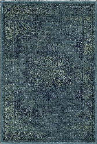 Safavieh Vintage Premium Collection VTG158-2220 Transitional Oriental Medallion Blue and Multi Distressed Silky Viscose Area Rug 2 x 3