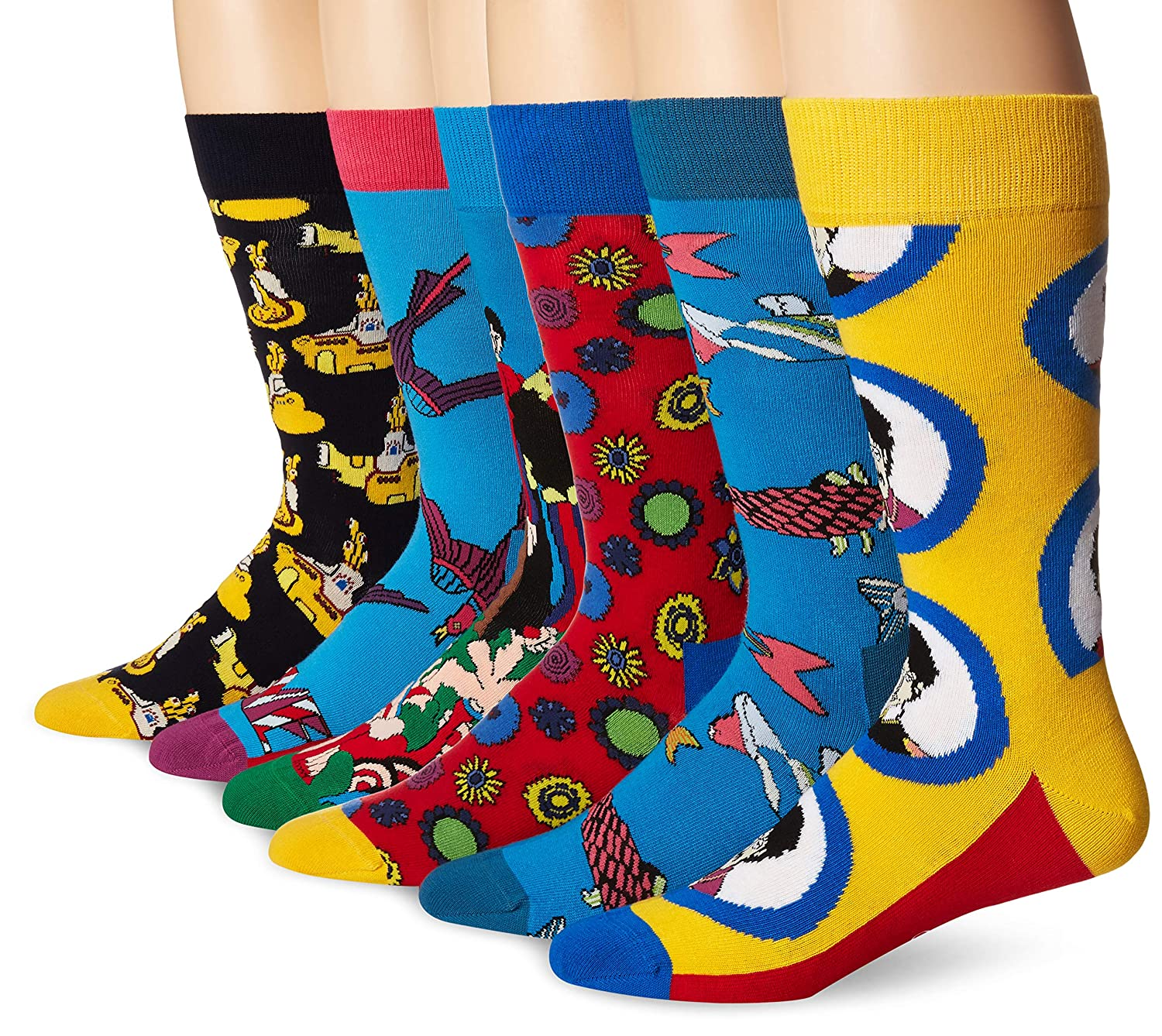 bluee Combo Happy Socks Womens Beatles 50th Anniversary LP Collector's Box 6Pack