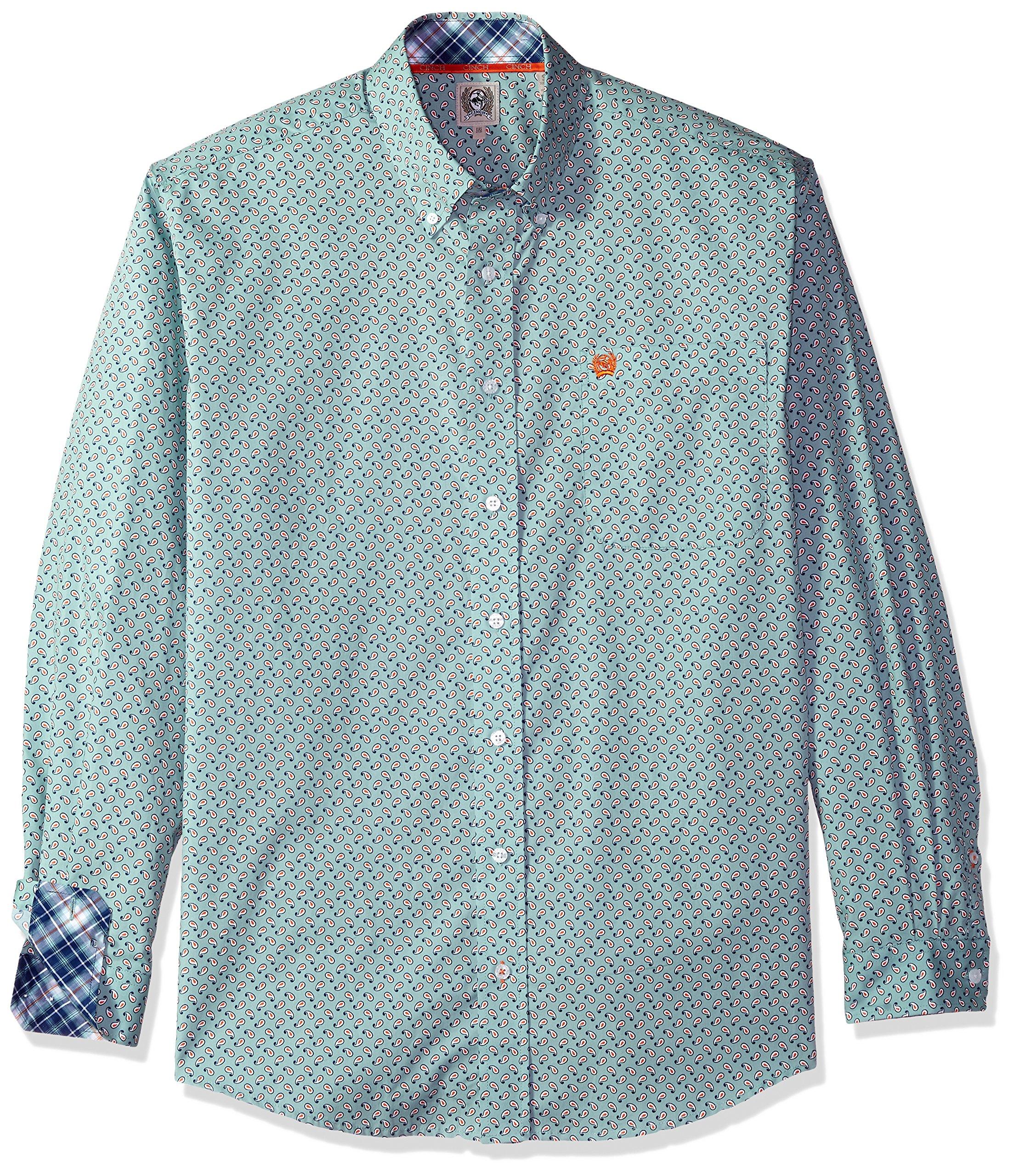 Cinch Men's Classic Fit Long Sleeve Button One Open Pocket Print Shirt, Light Blue Paisley, M