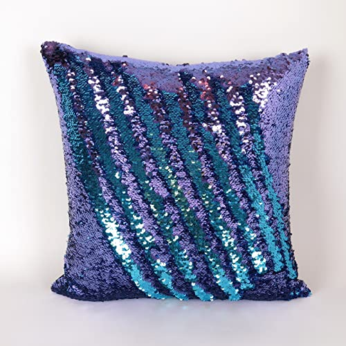Mermaid Pillow Cover   Purple And Turquoise Reversible Sequin Decorative  Throw Pillow Cover For A (