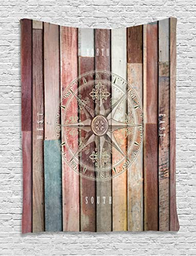 Ambesonne Marine Life Tapestry, Navy Sea Life Yacht Theme Colored Wood Backdrop with Rudder Like Compass Image, Wall Hanging for Bedroom Living Room Dorm Decor, 40 X 60 , Brown