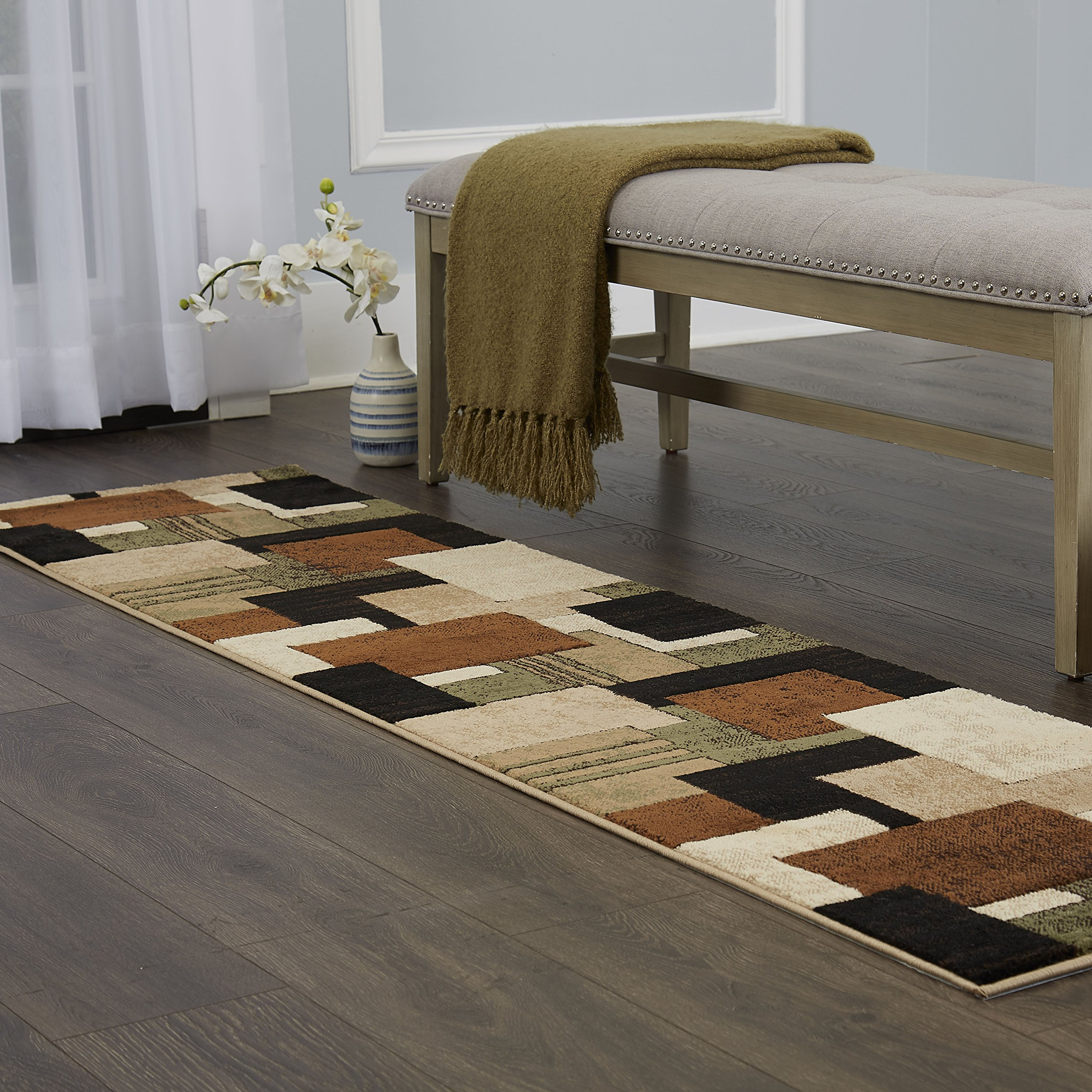 Home Dynamix Tribeca Mason Runner Area Rug 26'' x6', Abstract Brown/Green by Home Dynamix