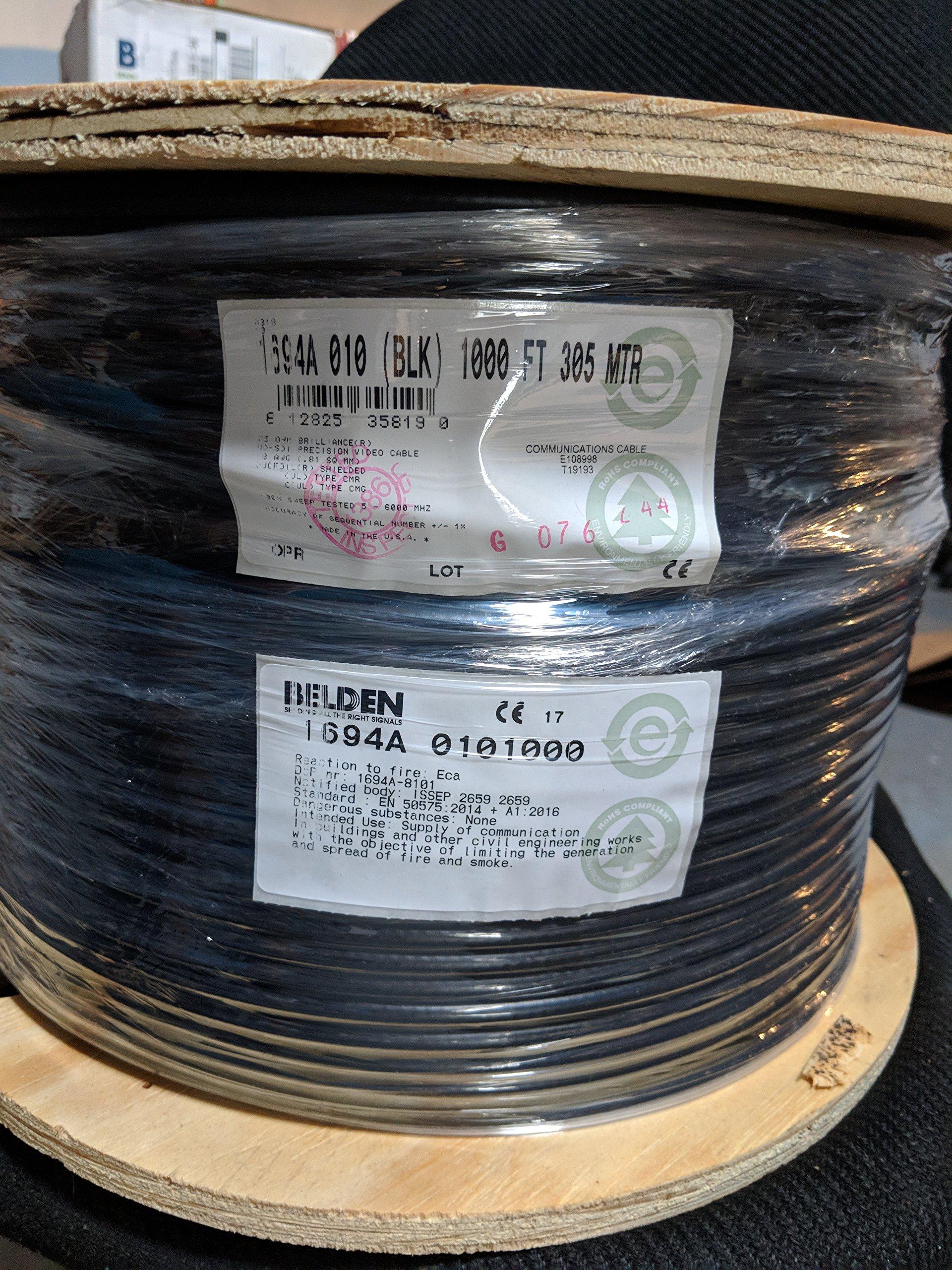 Belden 1694A HD/SDI 18AWG RG6 SerialDigital Coaxial Cable - 1,000 FEET (BLACK)