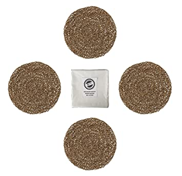 IKEA Ihallig Natural Handmade Seagrass Table Placemat And Cotton Napkin  Bundle   For Dinner Table,