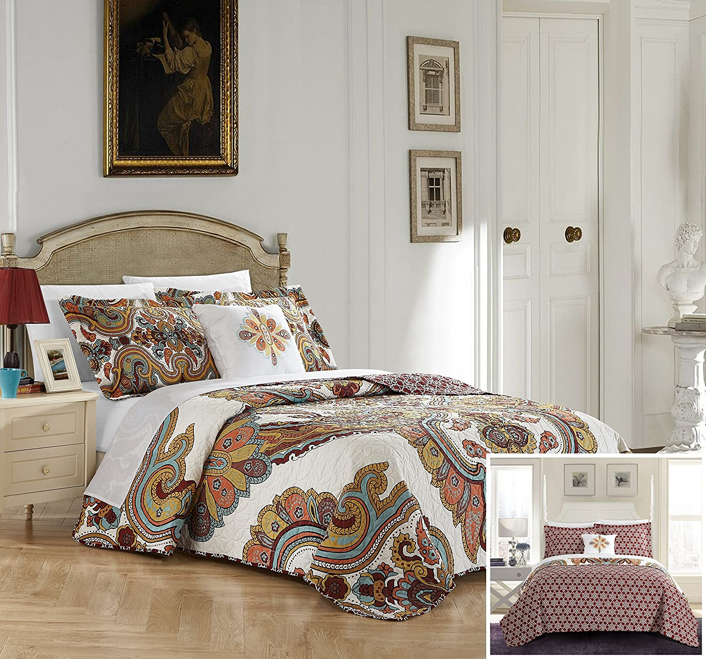 Chic Home Ember 4 Piece Reversible Quilt Cover Set Queen Beige QS4368-AN