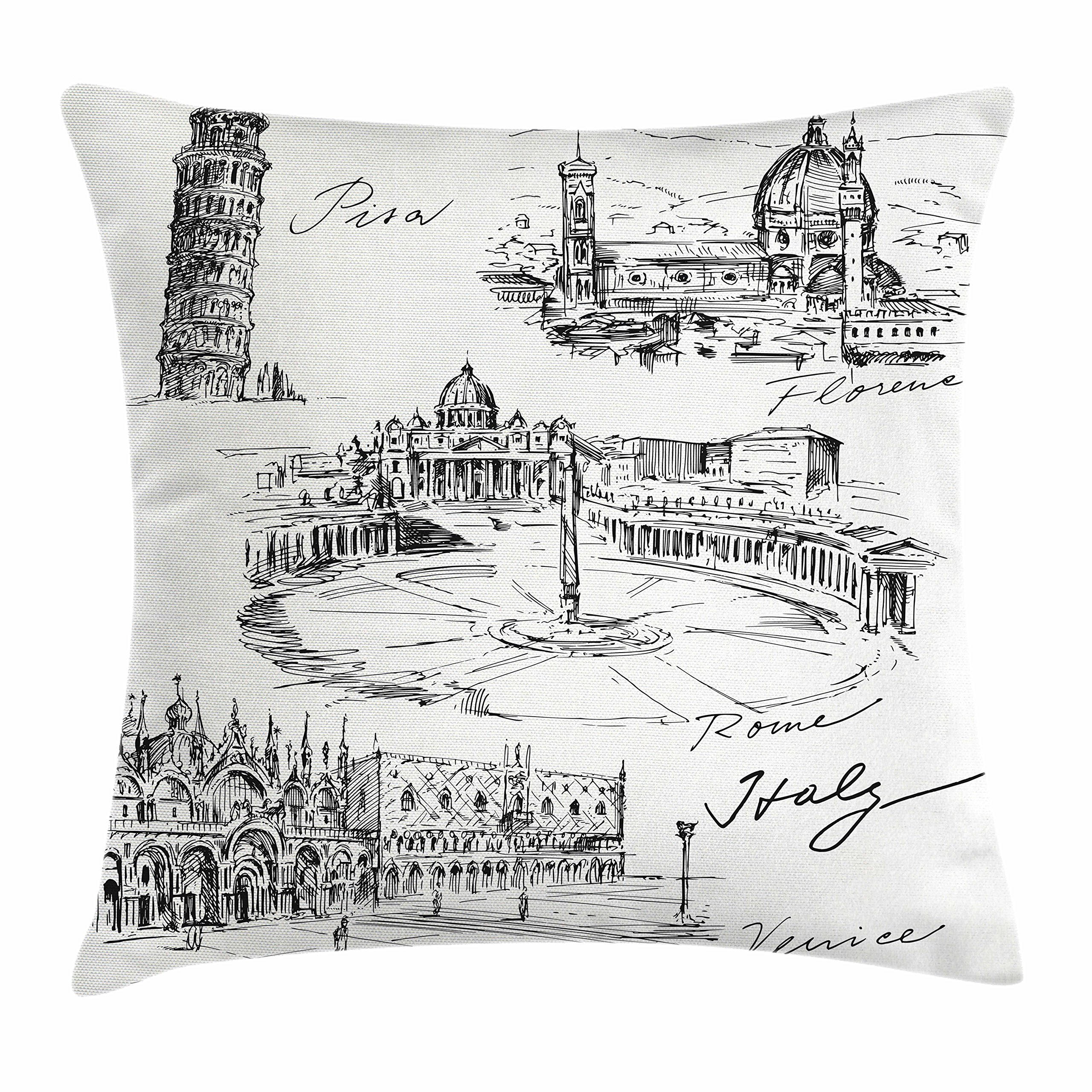 Ambesonne Sketchy Throw Pillow Cushion Cover, Travel The World Themed Historical Italian Landmarks Venice Rome Florence Pisa, Decorative Square Accent Pillow Case, 18'' X 18'', Black White