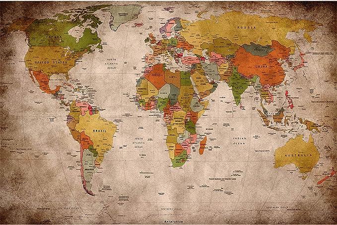 GREAT ART® Mural De Pared – Viejo Mapa del Mundo – Mirada Usada Globo Continentes Atlas Retro Vieja Escuela Vintage Terráqueo Geografía Foto Papel ...