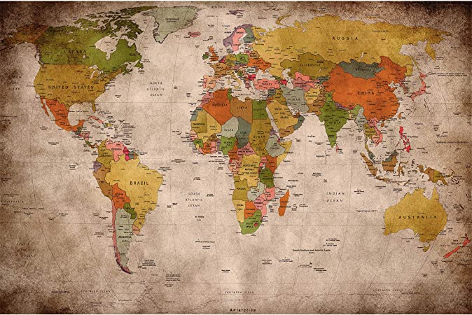 GREAT ART Mural De Pared – Viejo Mapa del Mundo – Mirada Usada Globo Continentes Atlas Retro Vieja Escuela Vintage Terráqueo Geografía Foto Papel Tapiz Y Decoración (210 X 140 Cm): Amazon.es: Hogar