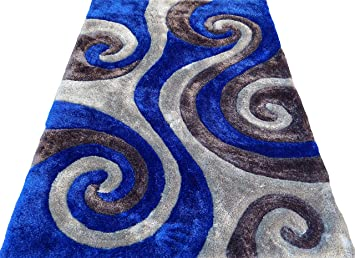 Shag Shaggy Modern Swirl Design Gray Royal Blue 5x7 Area Rug