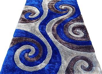 Amazoncom Shag Shaggy Modern Swirl Design Gray Royal Blue Gray