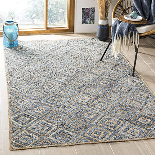 Safavieh Cape Cod Collection CAP354A Hand Woven Flatweave Diamond Geometric Natural and Blue Jute Area Rug 8 x 10