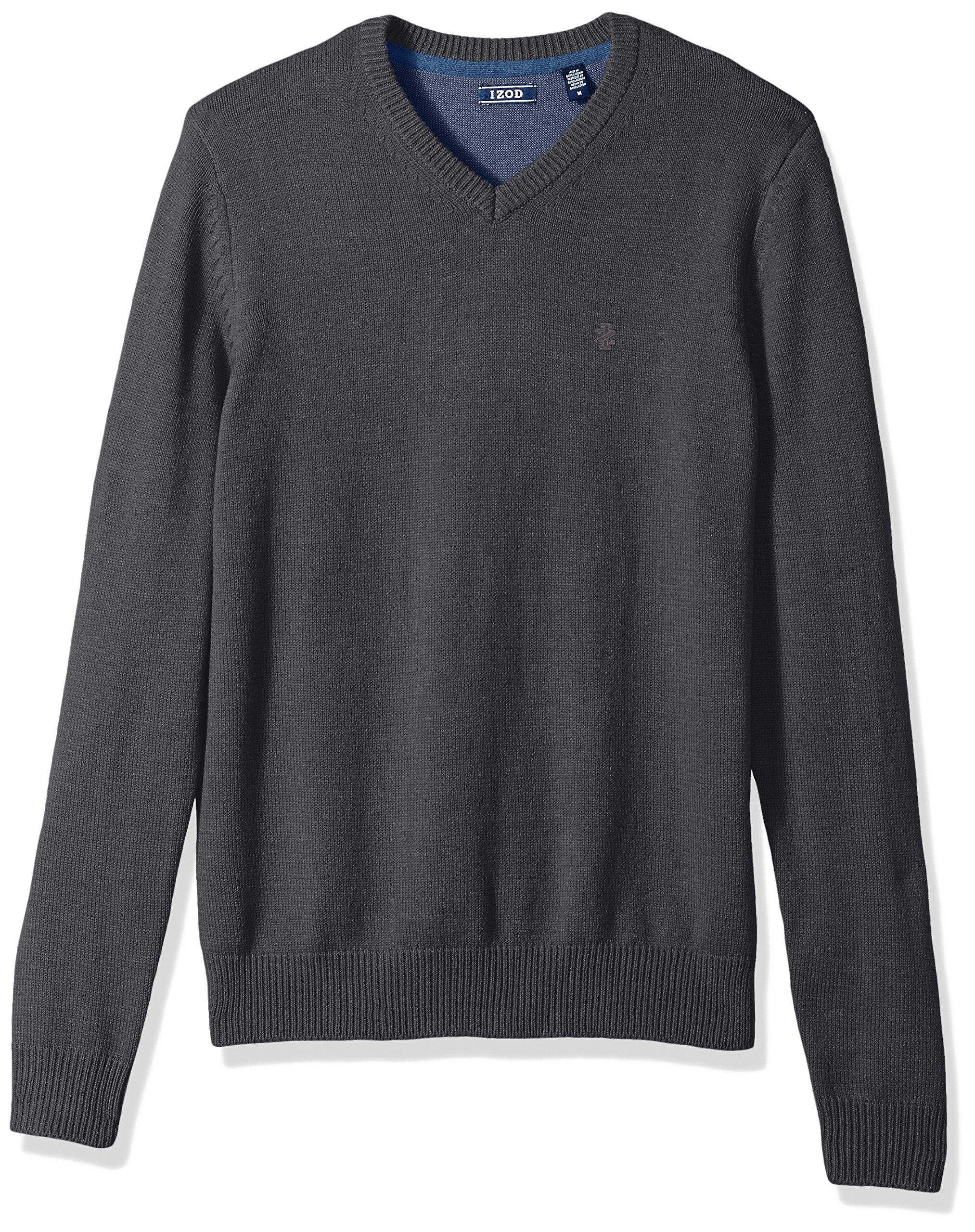 IZOD Men's Fine Gauge Solid V-Neck Sweater, Asphalt, Small